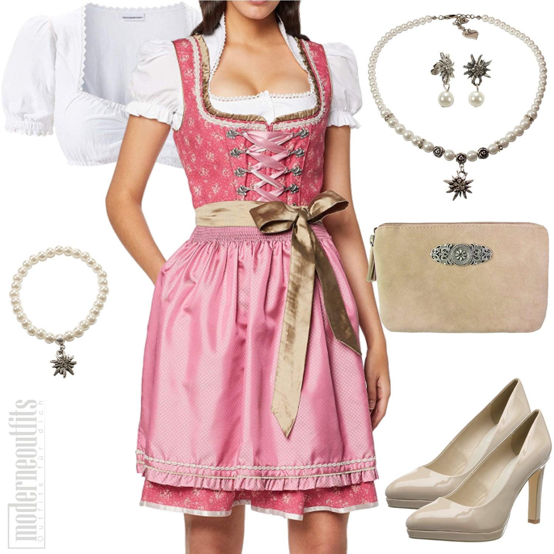 Damen Style Trachten in Beige mit Dirndl und Bluse