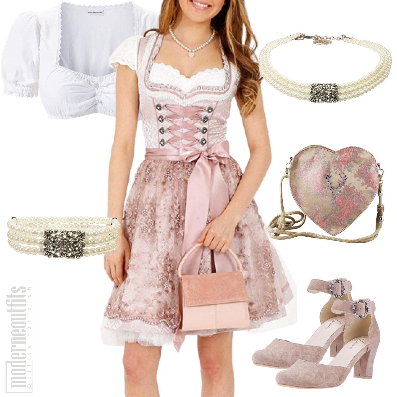 Damen Style Trachten in Rosa mit Dirndl und Bluse