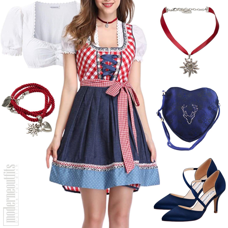 Dirndl Style in Blau mit Kleid Bluse und Pumps