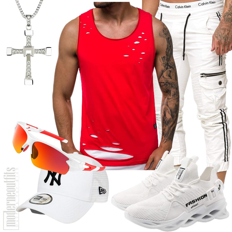 Jogginghose Outfit Herren mit Shirt in Weiß, Rot