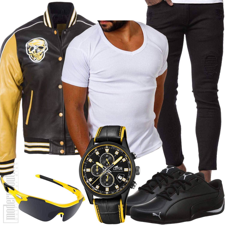 Lederjacke Biker Herren Style in Gelb und Schwarz