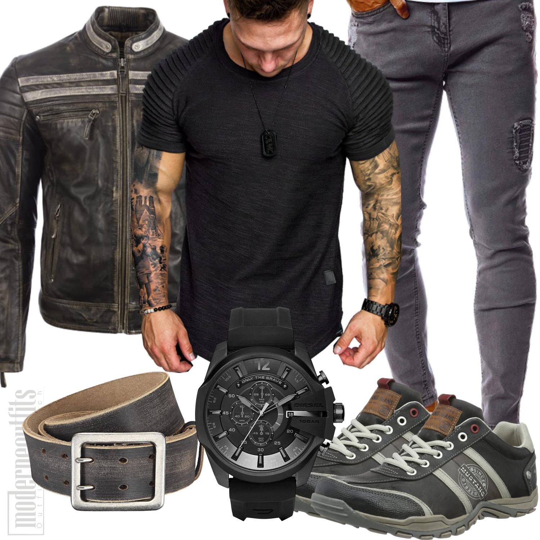 Lederjacken Outfit Herren in Schwarz und Grau