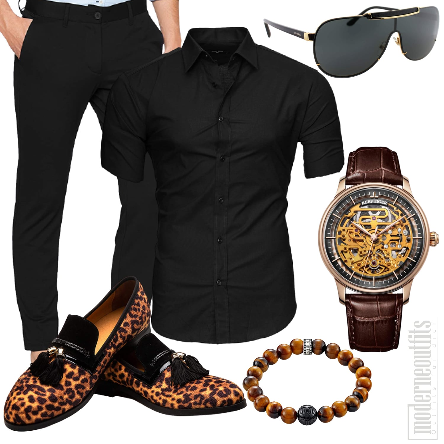 Leopardenmuster Schuhe Party Outfit Herren