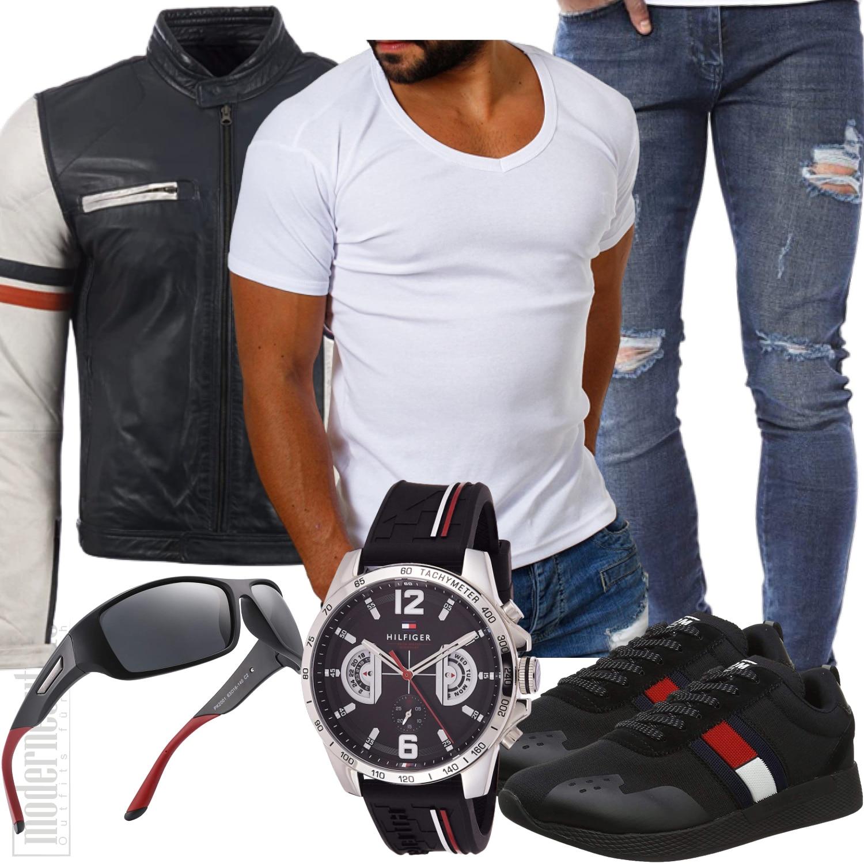 Outfit Biker Style Herren mit Lederjacke
