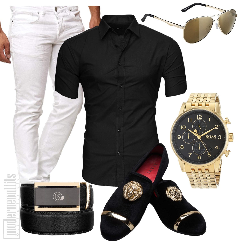 Sommer Party Outfit Herren in Gold und Schwarz