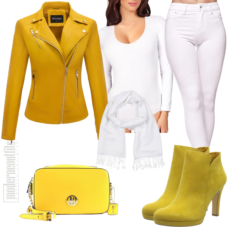 Damen Style in Gelb mit Lederjacke und Stiefeletten