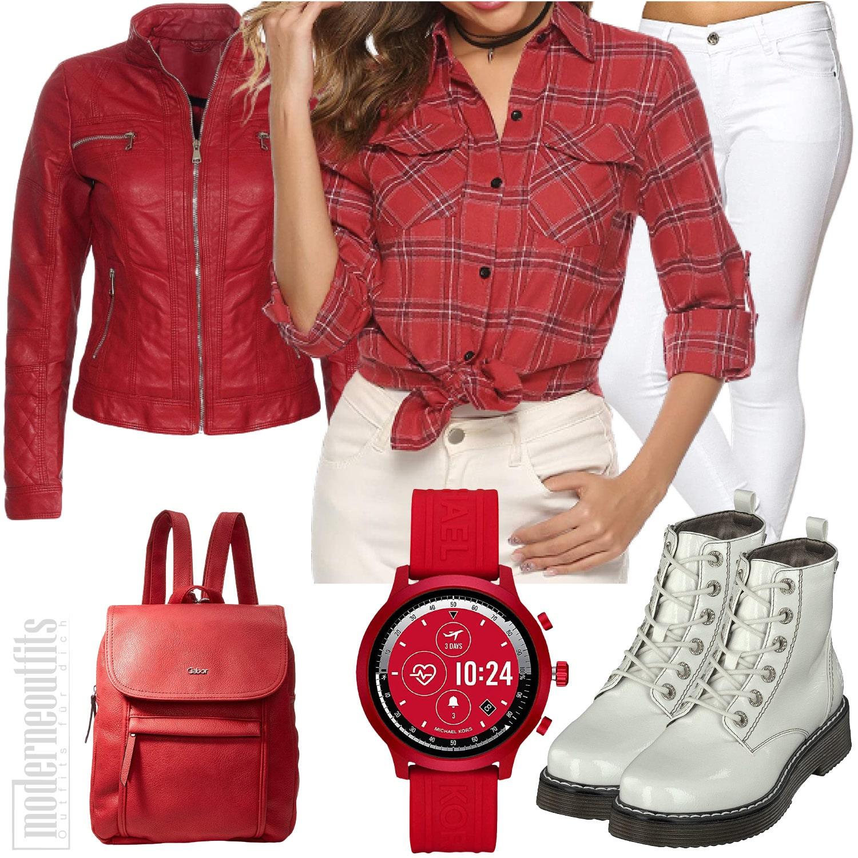 Damen Style in Rot mit Lederjacke und Bluse