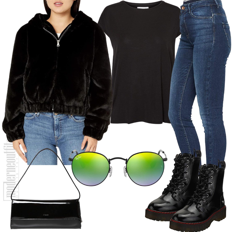Damen Style in Schwarz mit Kunstfell Jacke und Stiefeletten