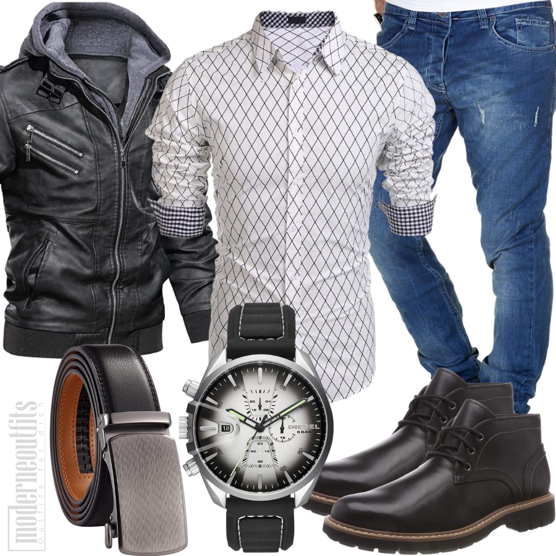Herbst Outfit Herren mit Lederjacke und Boots in schwarz