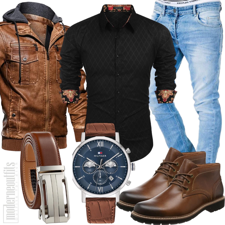 Herbst Style Herren mit Boots und Lederjacke