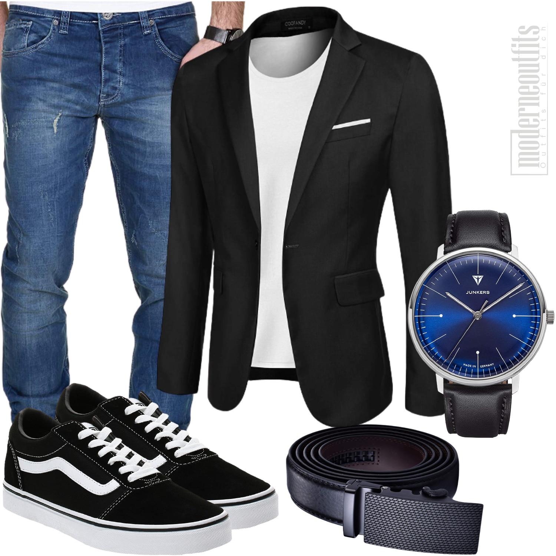 Herren Outfit sportlich elegant mit Sakko und Shirt
