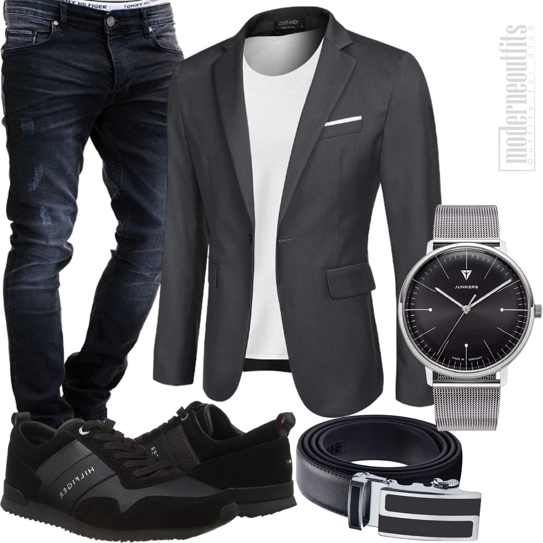 Herren Style sportlich elegant mit Blazer, Jeans, Sneaker