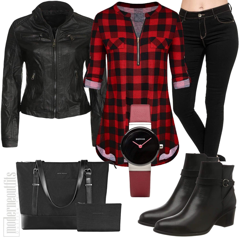 Kariertes Frauen Outfit mit Rot Schwarzer Bluse