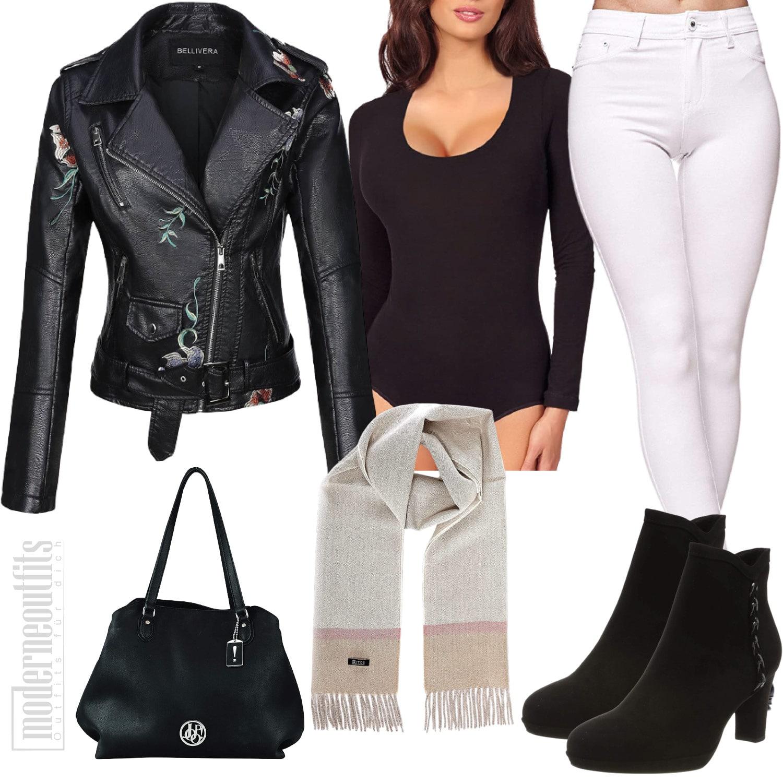 Lederjacken Outfit für Damen in Schwarz und Weiss