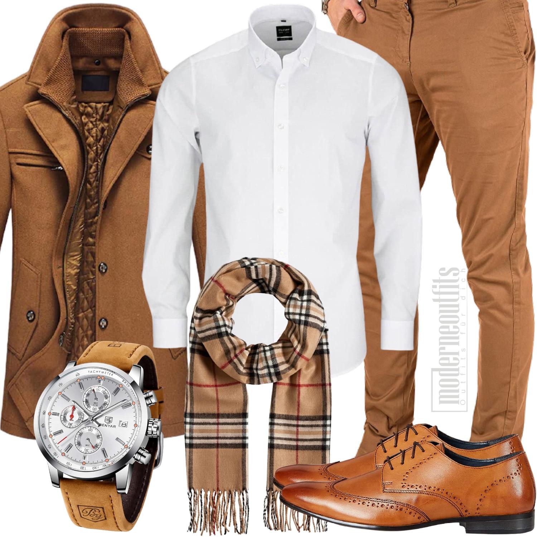 Mantel Style Herren mit Schal und Schuhe in braun