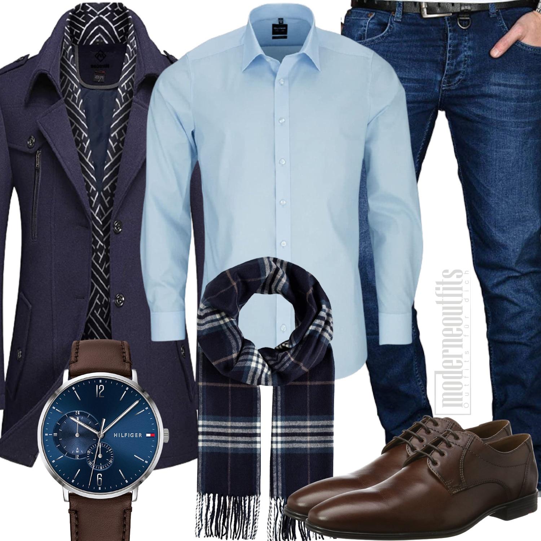 Outfit Herren mit Mantel, Hemd, Schal und Schuhe