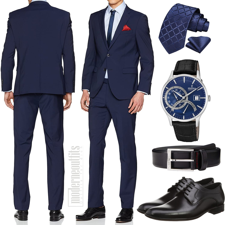 Business Look Herren mit Hemd, Krawatte, Gürtel