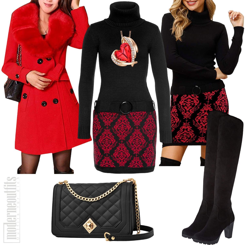 Damen Outfit Elegant mit Kleid und Mantel