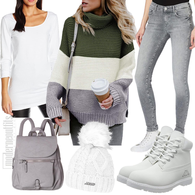Damen Style in Grau mit Pullover und Jeans