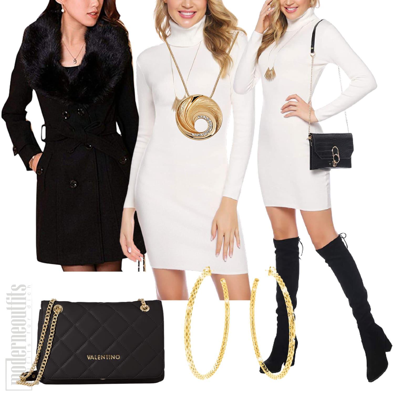 Elegantes Outfit für Frauen mit Strickkleid und Mantel