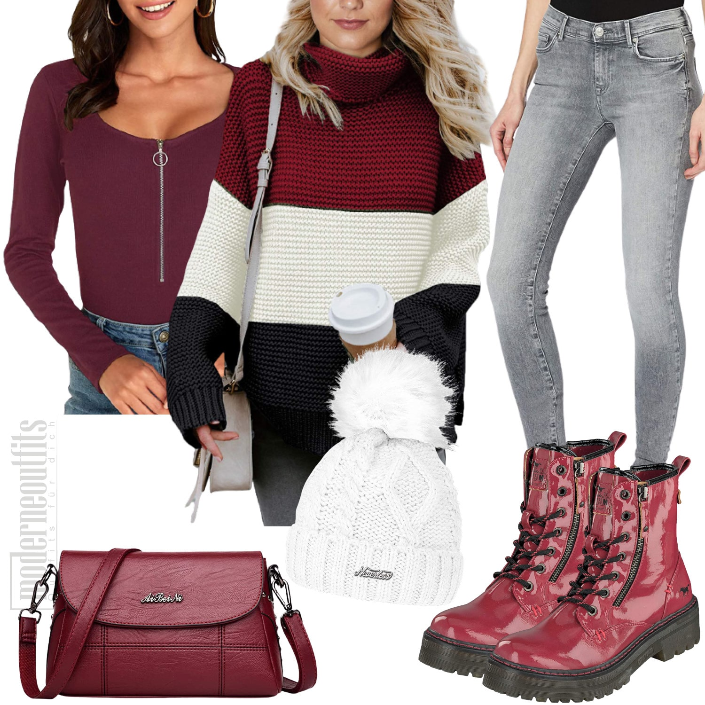 Frauen Outfit in Rot mit Strickpullover und Jeans