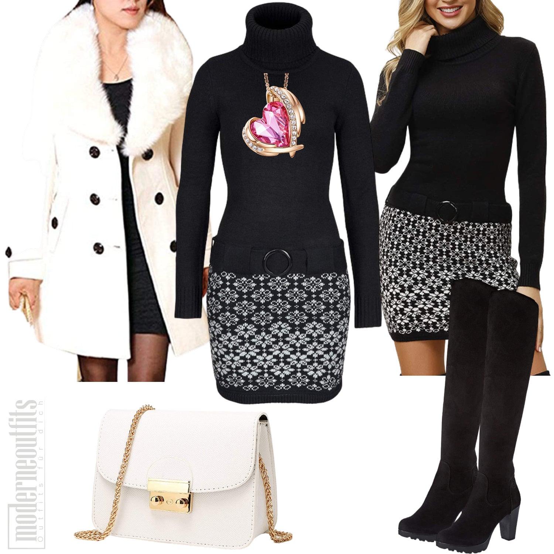 Frauen Outfit sportlich elegant mit Strickkleid