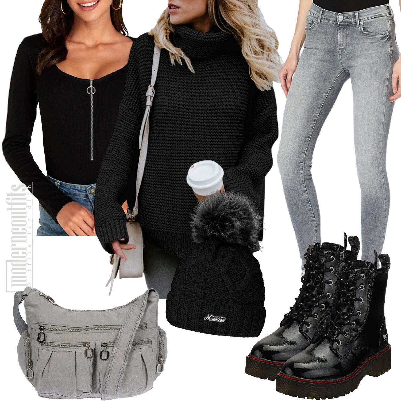 Frauen Style für den Winter mit Pullover und Jeans