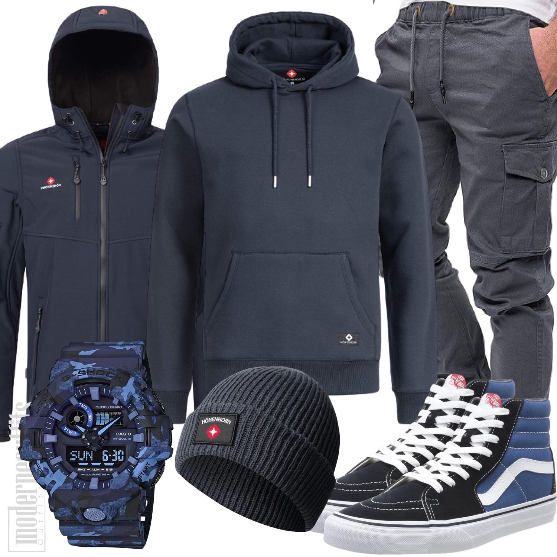Hoodie kombinieren Outfit Herren in navy blau