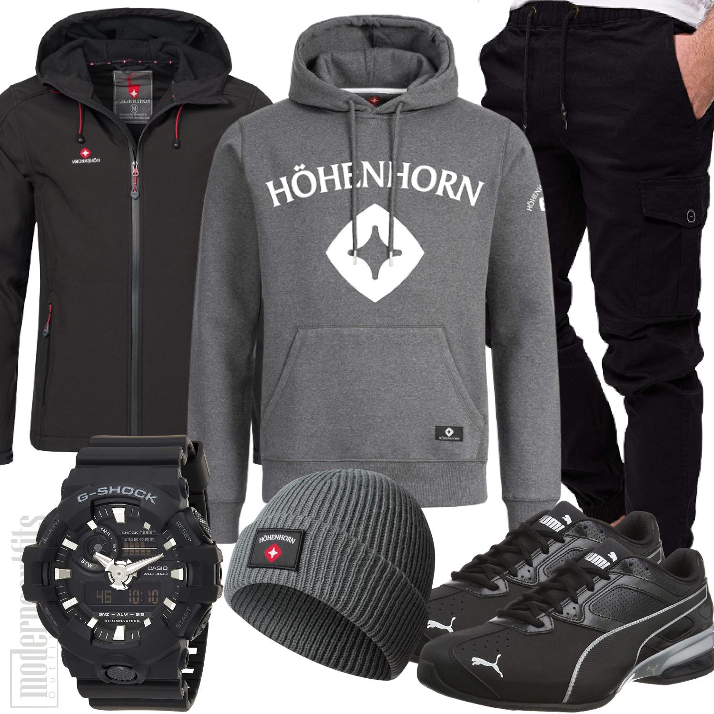 Hoodie Outfit Herren mit Softshell Jacke in schwarz grau