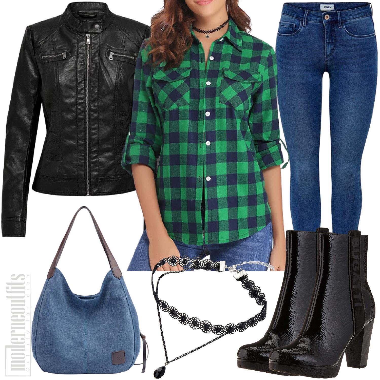 Kariertes Outfit für Frauen mit Hemd und Jeans