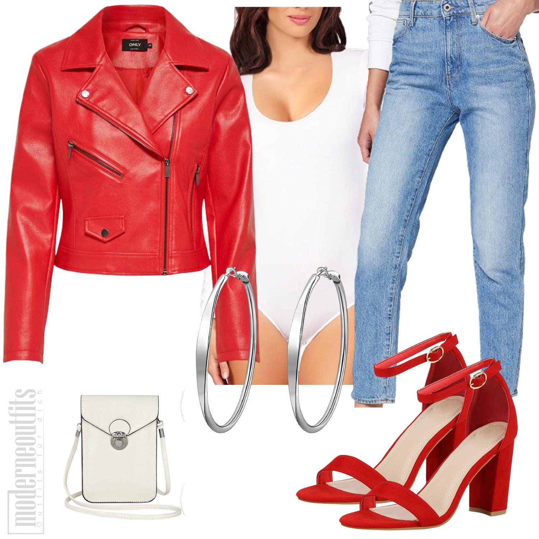 Lederjacken Outfit für Damen in Rot mit Body und Jeans
