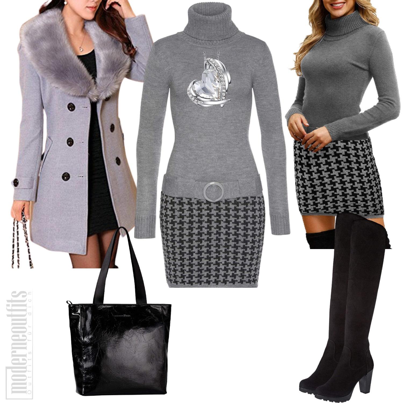 Sportlich Elegantes Damen Outfit mit Mantel und Kleid