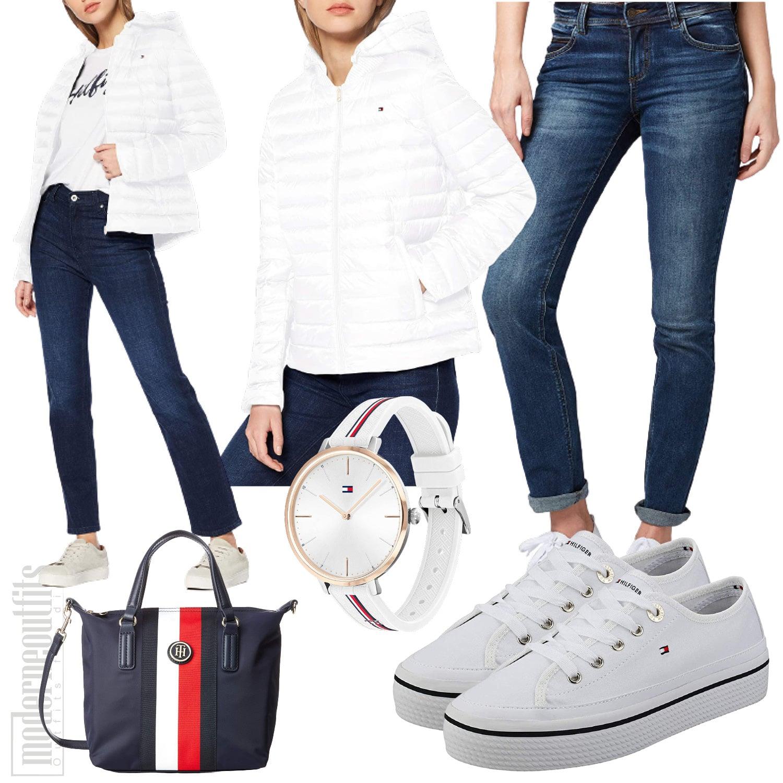 Sportliches Outfit für Frauen mit Jacke und Jeans