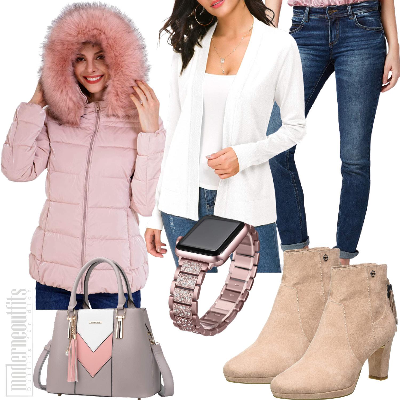 Winter Outfit für Frauen in Rosa mit Parker
