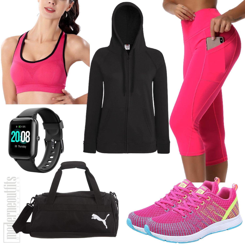 Yoga Outfit für Damen in Pink mit Leggings Top