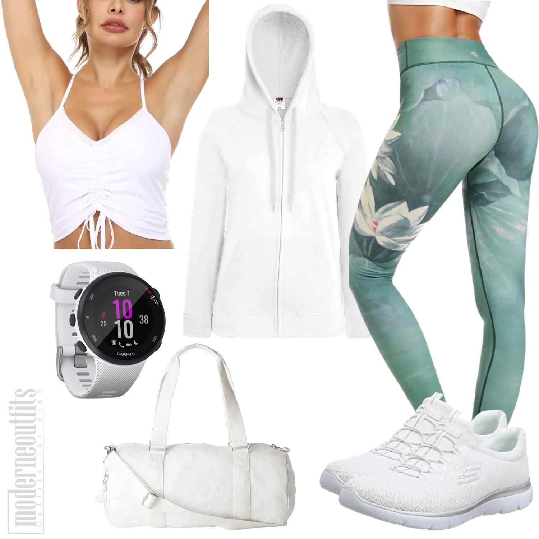 Yoga Outfit für Damen in Weiss mit Leggings und Top