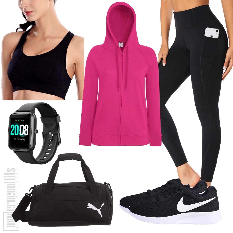 Yoga Outfit für Frauen mit Top, Jacke und Leggings