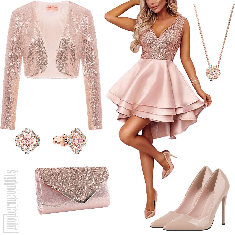 Glitzer Outfit für Damen in Rosa mit Pailettenkleid und Jacke