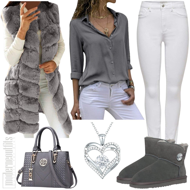 Herbst Outfit für Damen in Grau mit Fellweste und Boots