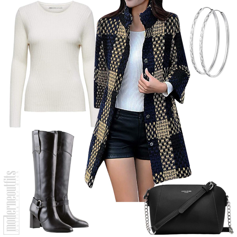 Herbst Outfit für Damen mit Wollmantel, Hose und Stiefel