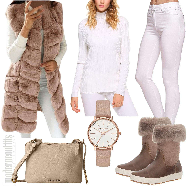 Winter Outfit für Damen in Beige mit Fellweste und Boots