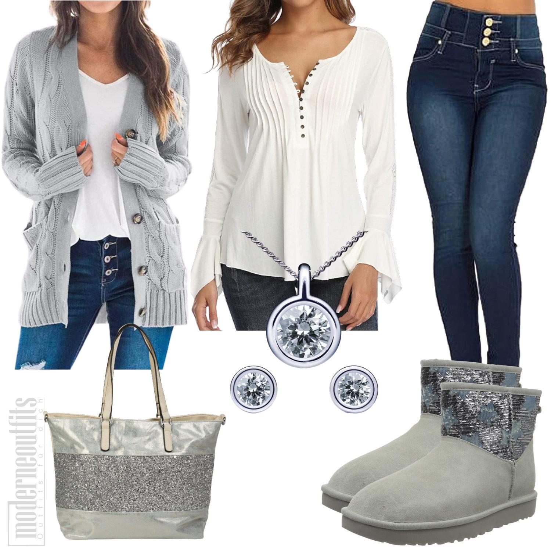 Winter Outfit für Damen in Grau mit Cardigan und Boots