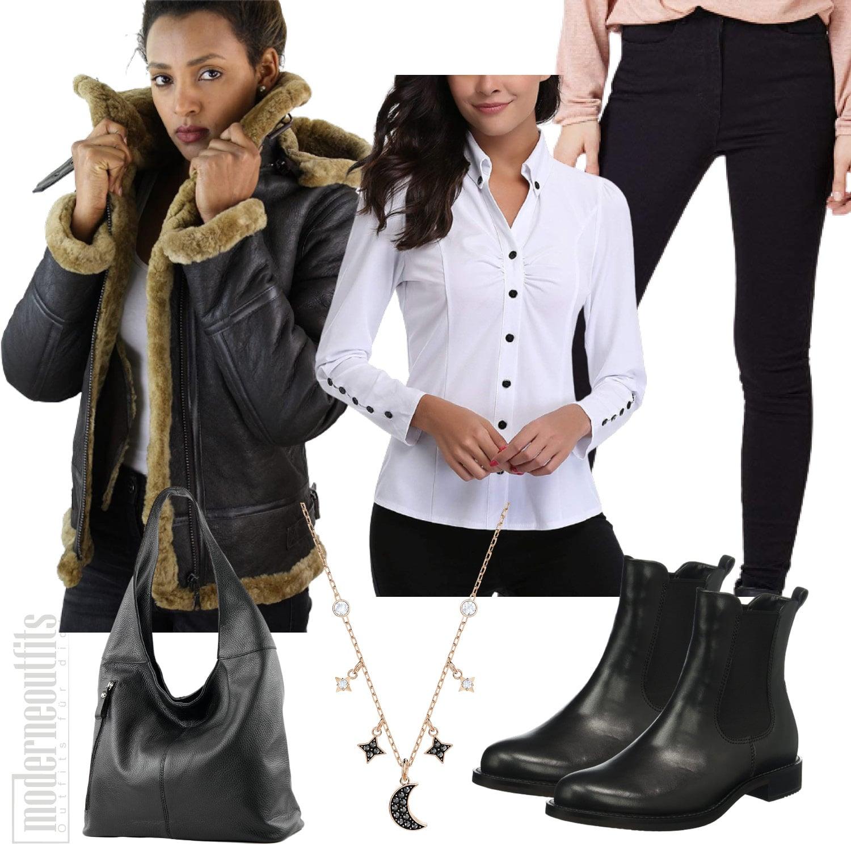 Winter Outfit für Damen mit Lederjacke und Bluse