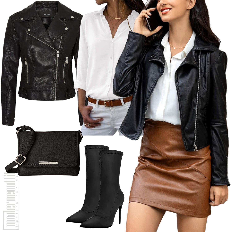 Leder Outfit für Damen mit Lederjacke und Lederrock