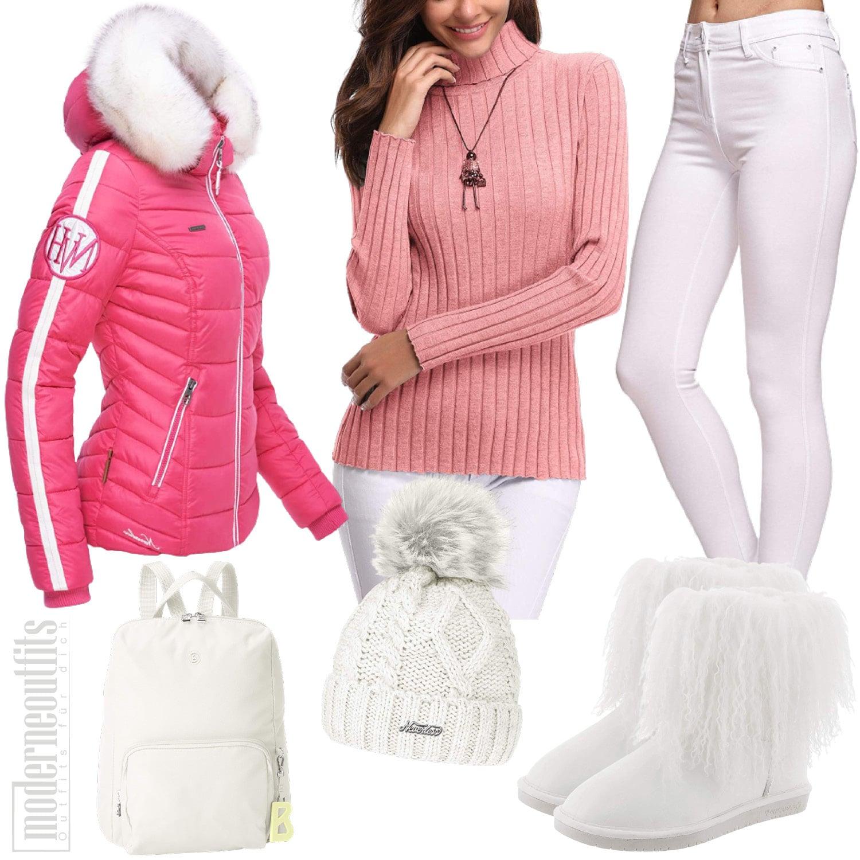Winter Outfit für Damen in Pink mit Winterjacke und Boots