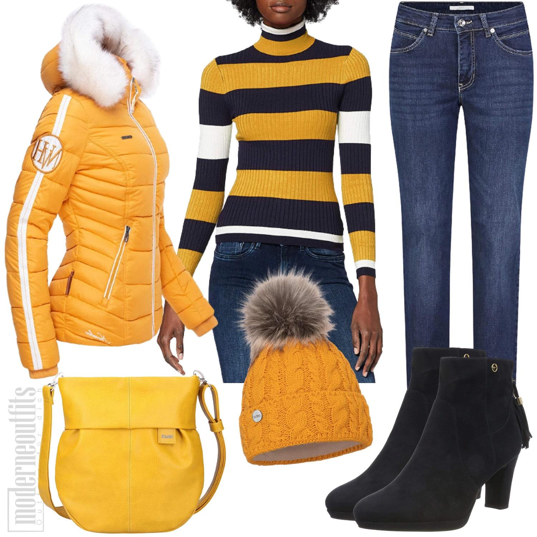 Winter Outfit für Damen mit Steppjacke und Pullover