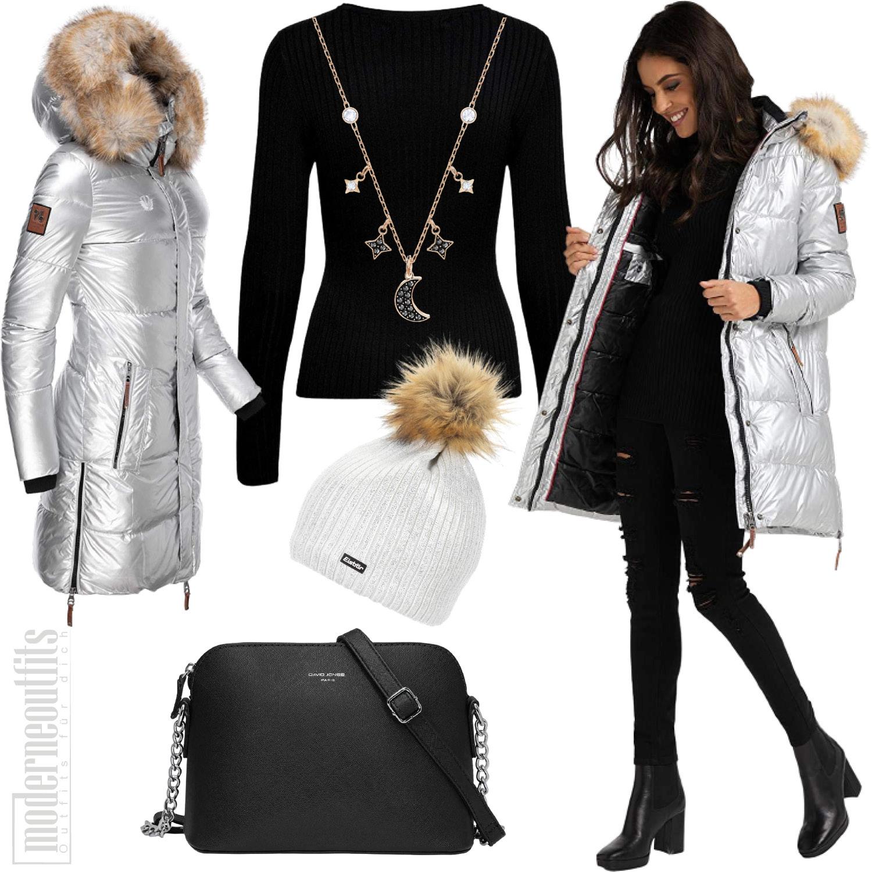 Winter Outfit in Silber für Damen mit Steppjacke und Mütze