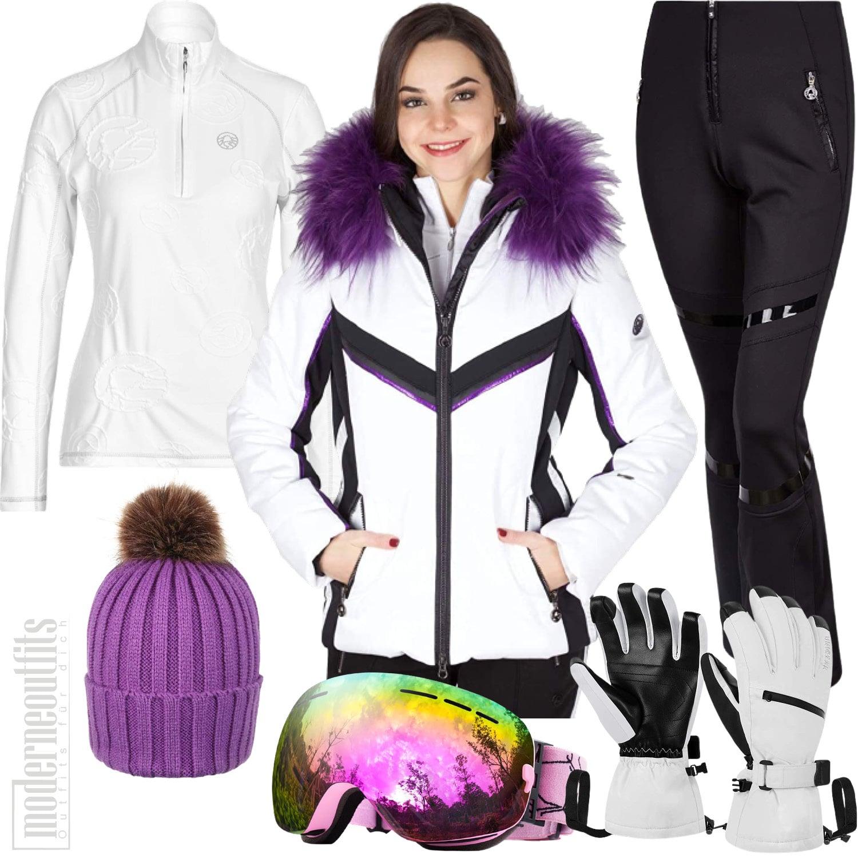 Skioutfit für Damen mit Skijacke, Skihose und Handschuhe