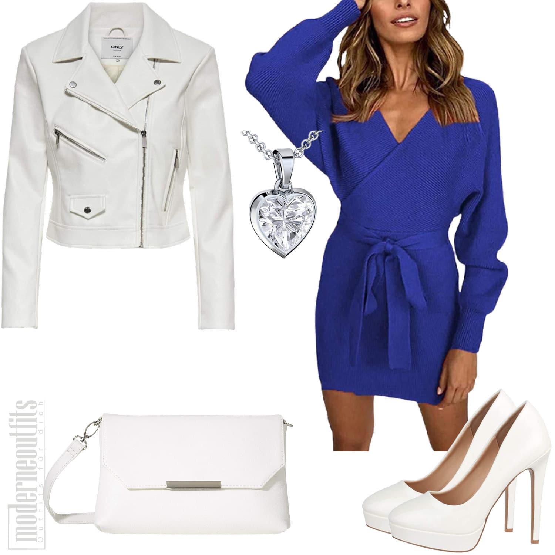 Damen Outfit mit Lederjacke, Kleid und Handtasche