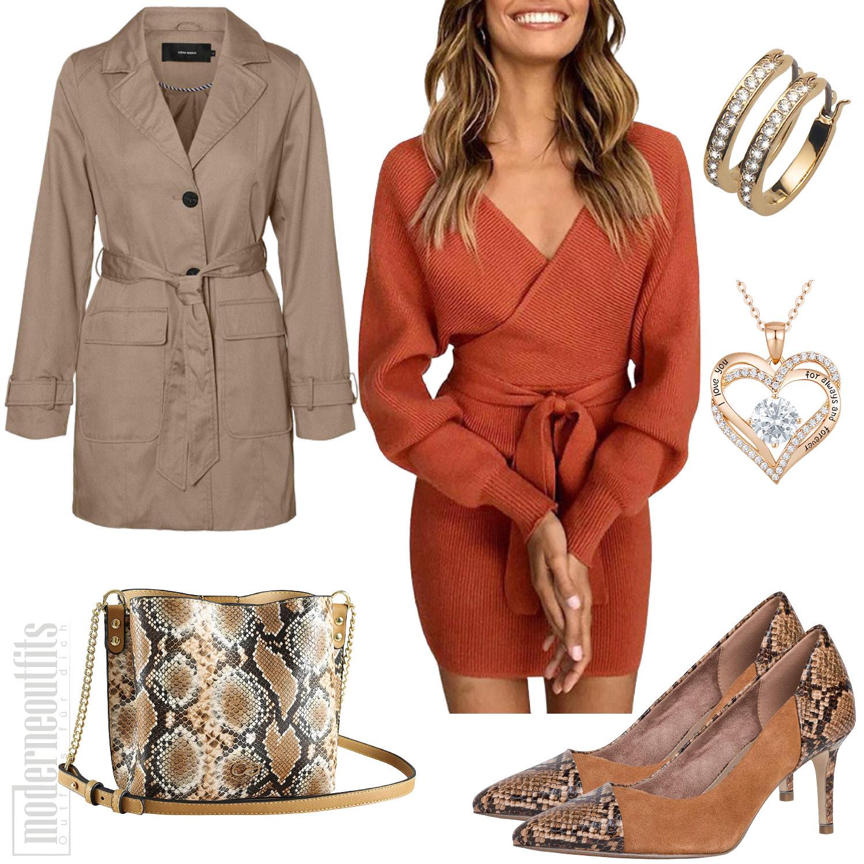 Damen Outfit mit Trenchcoat, Strickkleid und Pumps